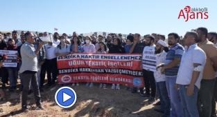 Şanlıurfa'da işten çıkarılan işçiler eylem başlattı